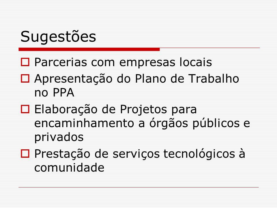 Sugestões Parcerias com empresas locais Apresentação do Plano de Trabalho no PPA Elaboração de Projetos para encaminhamento a órgãos públicos e privad