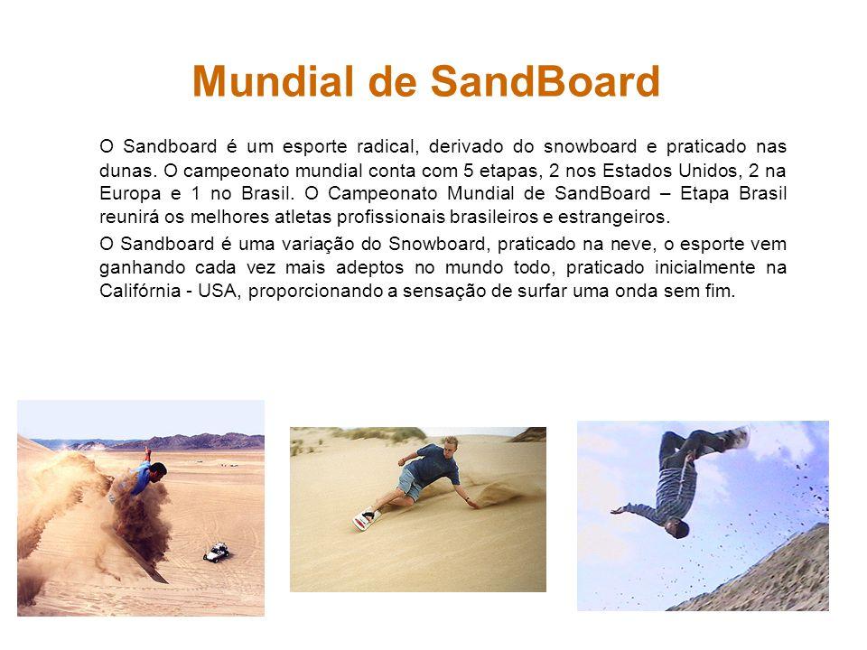 Mundial de SandBoard O Sandboard é um esporte radical, derivado do snowboard e praticado nas dunas. O campeonato mundial conta com 5 etapas, 2 nos Est