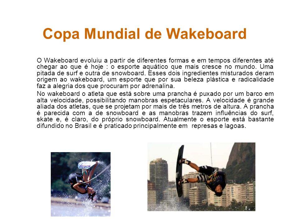 Copa Mundial de Wakeboard O Wakeboard evoluiu a partir de diferentes formas e em tempos diferentes até chegar ao que é hoje : o esporte aquático que m