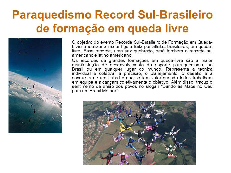 Paraquedismo Record Sul-Brasileiro de formação em queda livre O objetivo do evento Recorde Sul-Brasileiro de Formação em Queda- Livre é realizar a mai