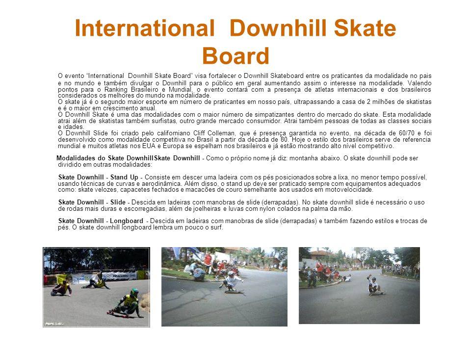 International Downhill Skate Board O evento International Downhill Skate Board visa fortalecer o Downhill Skateboard entre os praticantes da modalidad