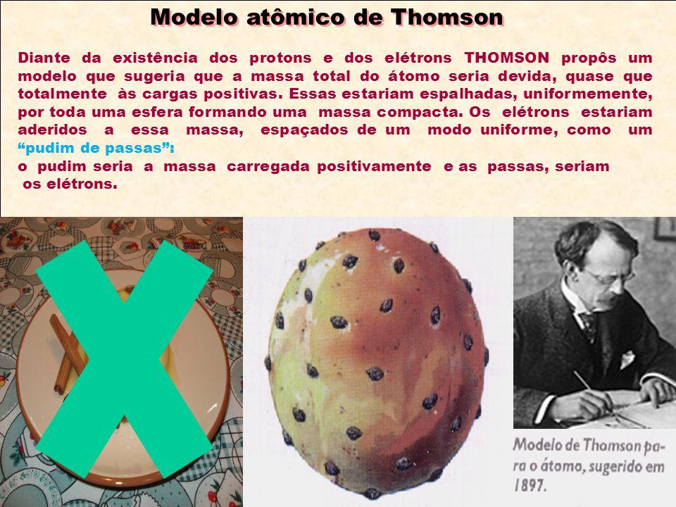 Modelo atômico de Thomson Diante da existência dos protons e dos elétrons THOMSON propôs um modelo que sugeria que a massa total do átomo seria devida