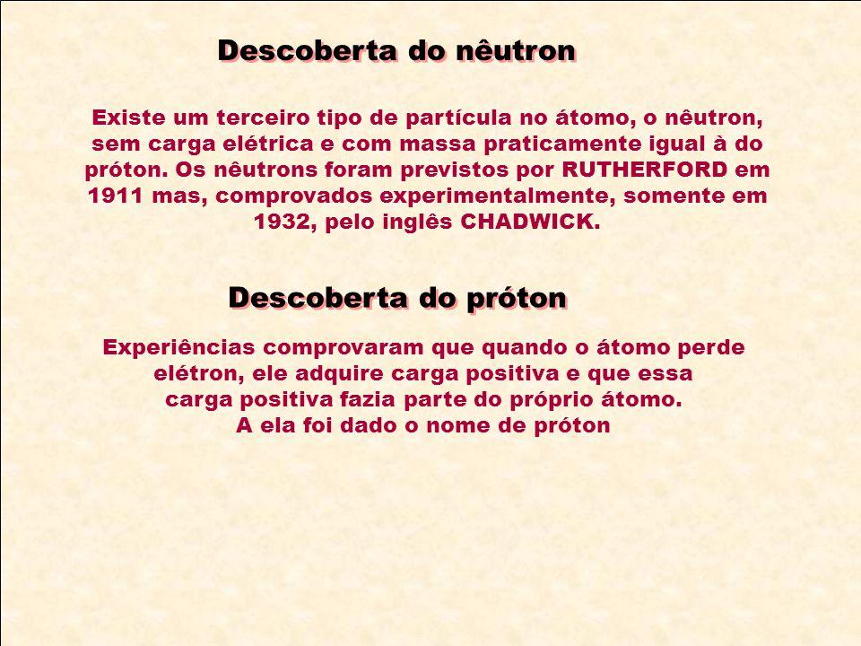 Descoberta do nêutron Existe um terceiro tipo de partícula no átomo, o nêutron, sem carga elétrica e com massa praticamente igual à do próton. Os nêut