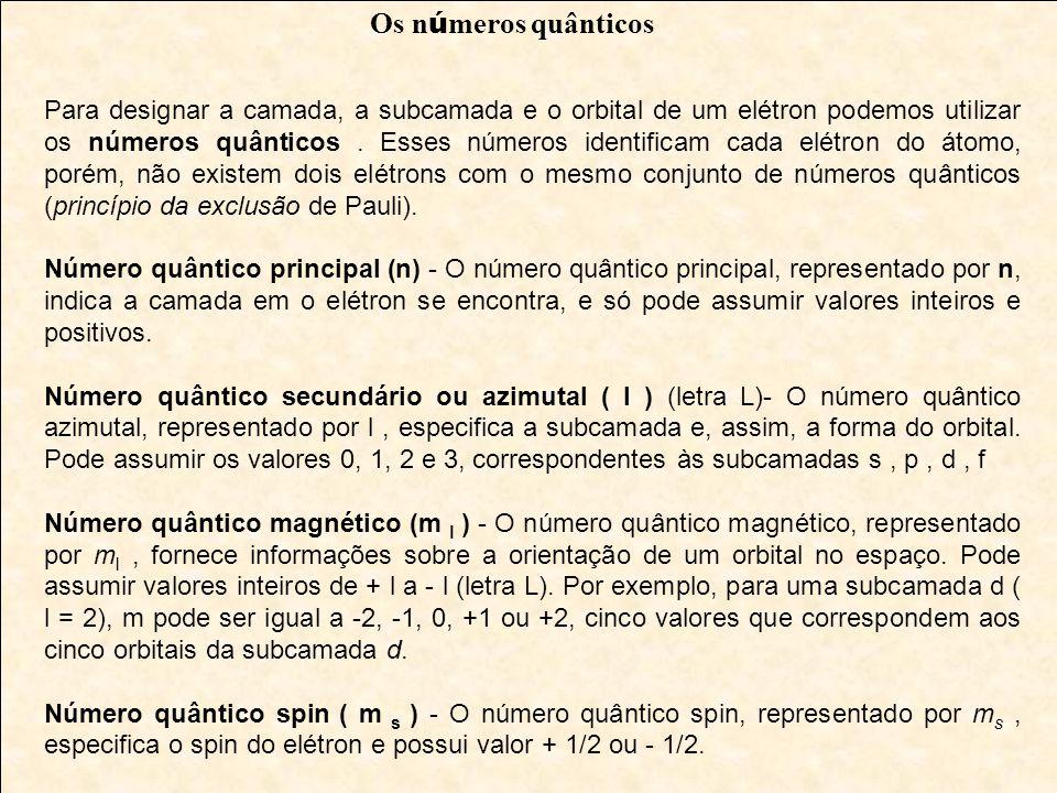 Para designar a camada, a subcamada e o orbital de um elétron podemos utilizar os números quânticos. Esses números identificam cada elétron do átomo,