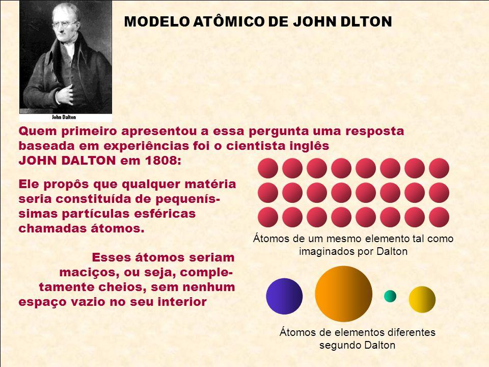 Quem primeiro apresentou a essa pergunta uma resposta baseada em experiências foi o cientista inglês JOHN DALTON em 1808: Ele propôs que qualquer maté
