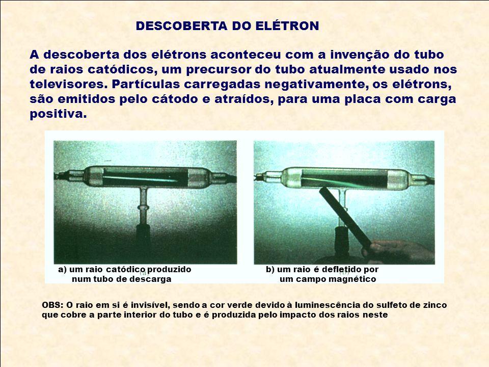 DESCOBERTA DO ELÉTRON A descoberta dos elétrons aconteceu com a invenção do tubo de raios catódicos, um precursor do tubo atualmente usado nos televis