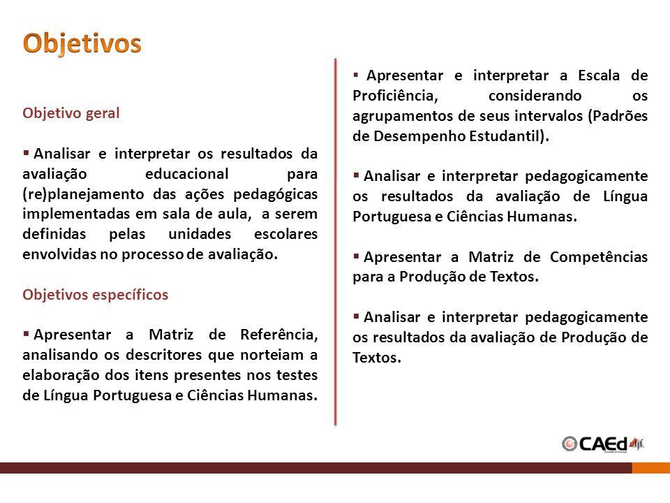 Objetivo geral Analisar e interpretar os resultados da avaliação educacional para (re)planejamento das ações pedagógicas implementadas em sala de aula