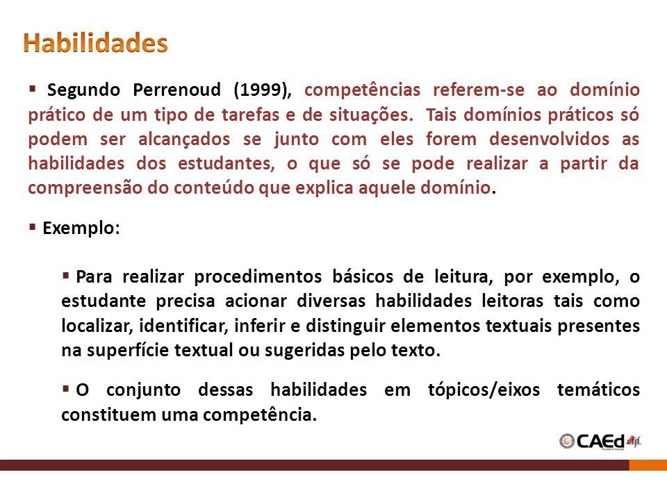 Segundo Perrenoud (1999), competências referem-se ao domínio prático de um tipo de tarefas e de situações. Tais domínios práticos só podem ser alcança