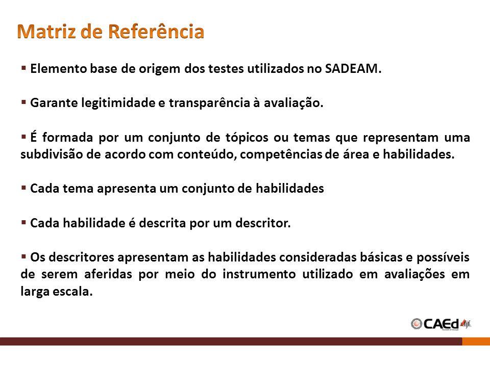 Elemento base de origem dos testes utilizados no SADEAM. Garante legitimidade e transparência à avaliação. É formada por um conjunto de tópicos ou tem