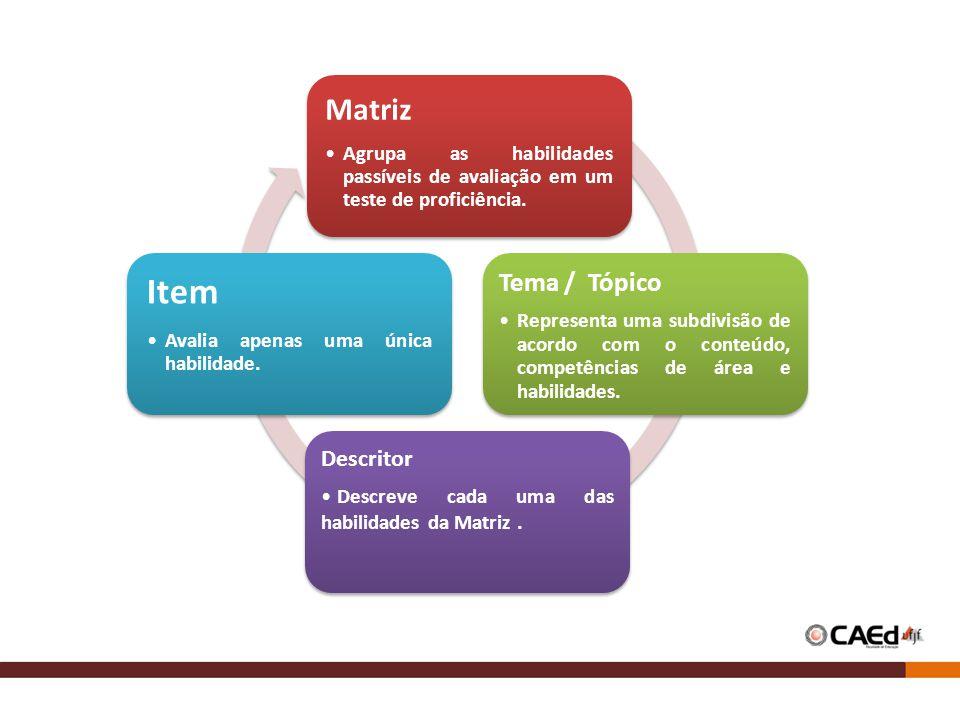 Matriz Agrupa as habilidades passíveis de avaliação em um teste de proficiência. Tema / Tópico Representa uma subdivisão de acordo com o conteúdo, com