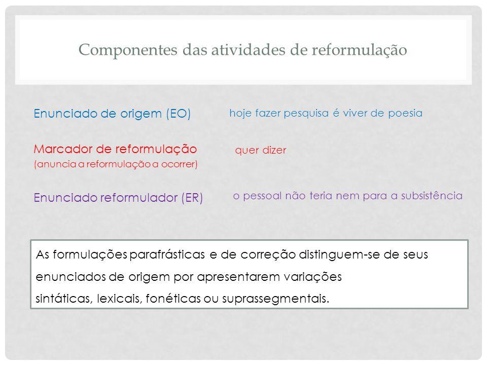 Componentes das atividades de reformulação Enunciado de origem (EO) Marcador de reformulação (anuncia a reformulação a ocorrer) Enunciado reformulador