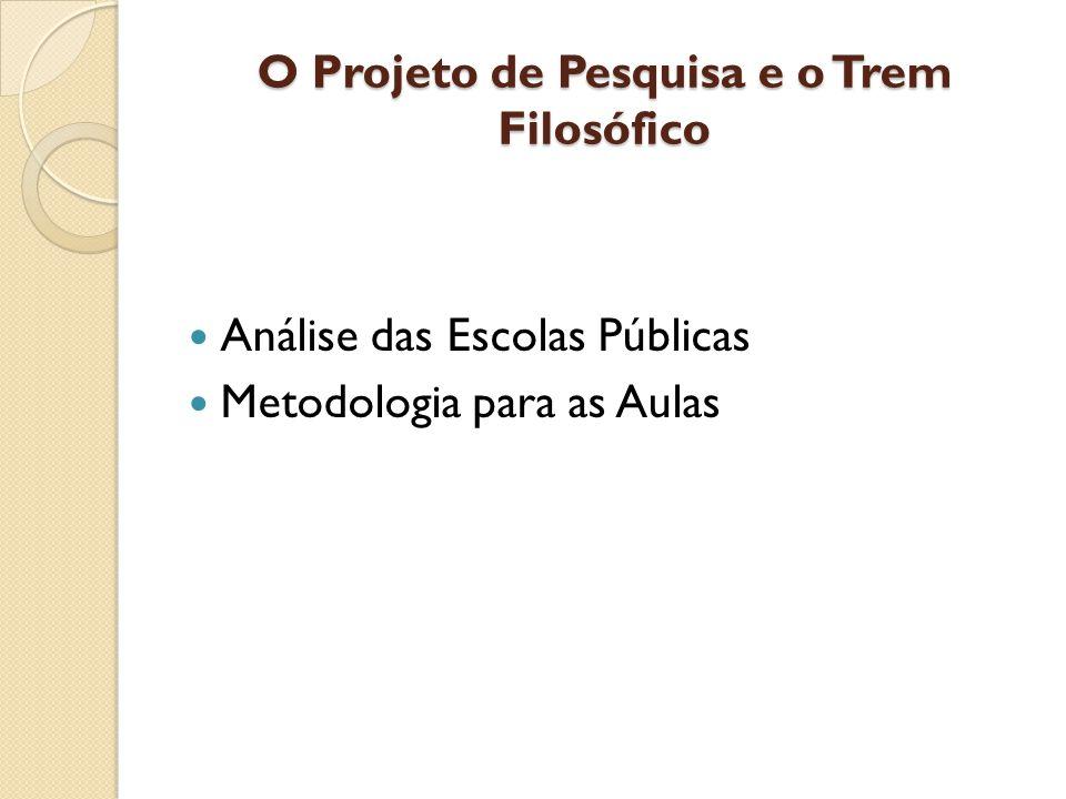 O Projeto de Pesquisa e o Trem Filosófico Análise das Escolas Públicas Metodologia para as Aulas