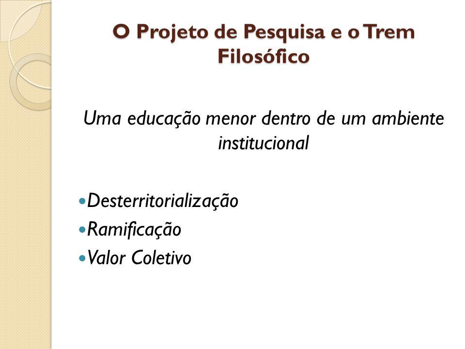 O Projeto de Pesquisa e o Trem Filosófico Uma educação menor dentro de um ambiente institucional Desterritorialização Ramificação Valor Coletivo
