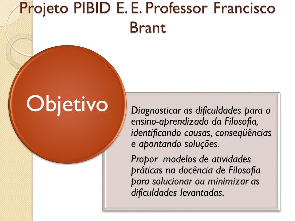 Projeto PIBID E. E. Professor Francisco Brant Diagnosticar as dificuldades para o ensino-aprendizado da Filosofia, identificando causas, conseqüências