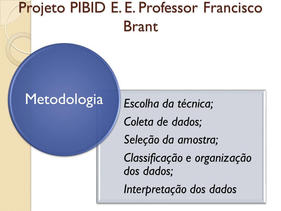 Projeto PIBID E. E. Professor Francisco Brant Escolha da técnica; Coleta de dados; Seleção da amostra; Classificação e organização dos dados; Interpre