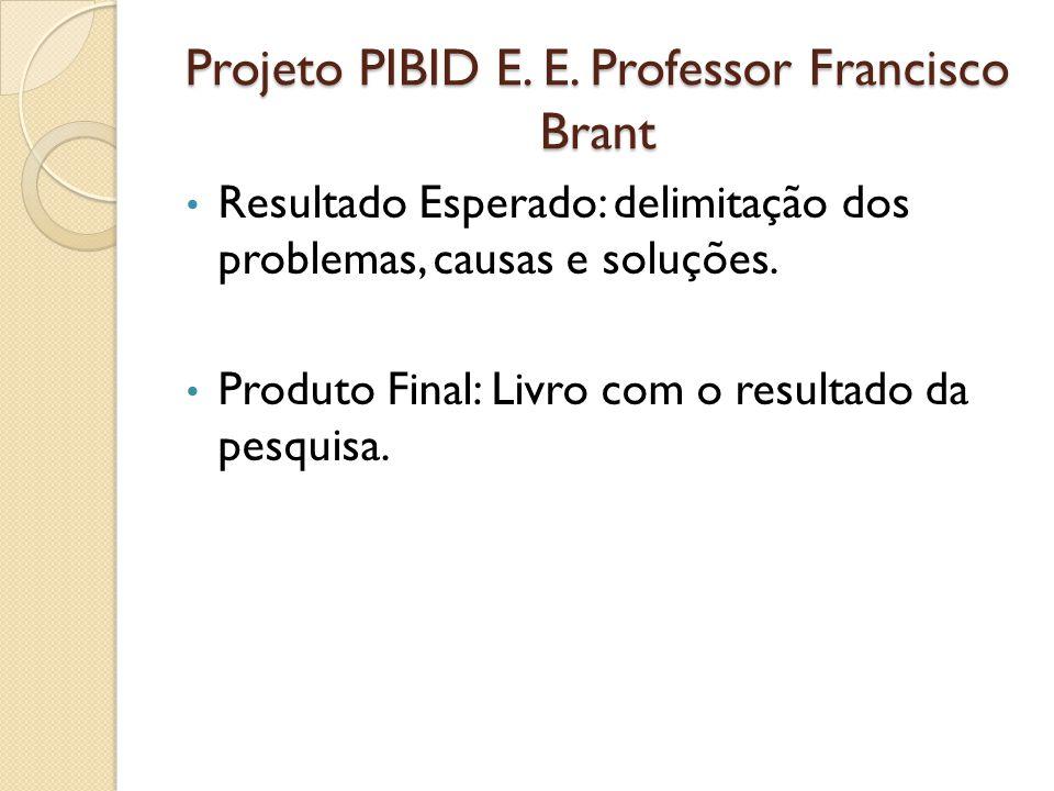 Projeto PIBID E. E. Professor Francisco Brant Resultado Esperado: delimitação dos problemas, causas e soluções. Produto Final: Livro com o resultado d