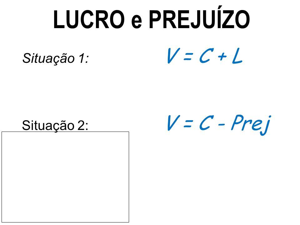 LUCRO e PREJUÍZO Situação 1: V = C + L Situação 2: V = C - Prej