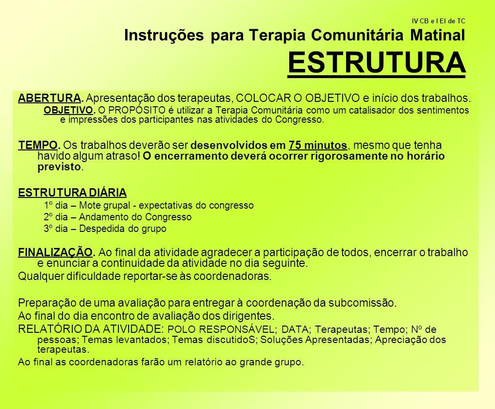 IV CB e I EI de TC Instruções para Terapia Comunitária Matinal ESTRUTURA ABERTURA. Apresentação dos terapeutas, COLOCAR O OBJETIVO e início dos trabal