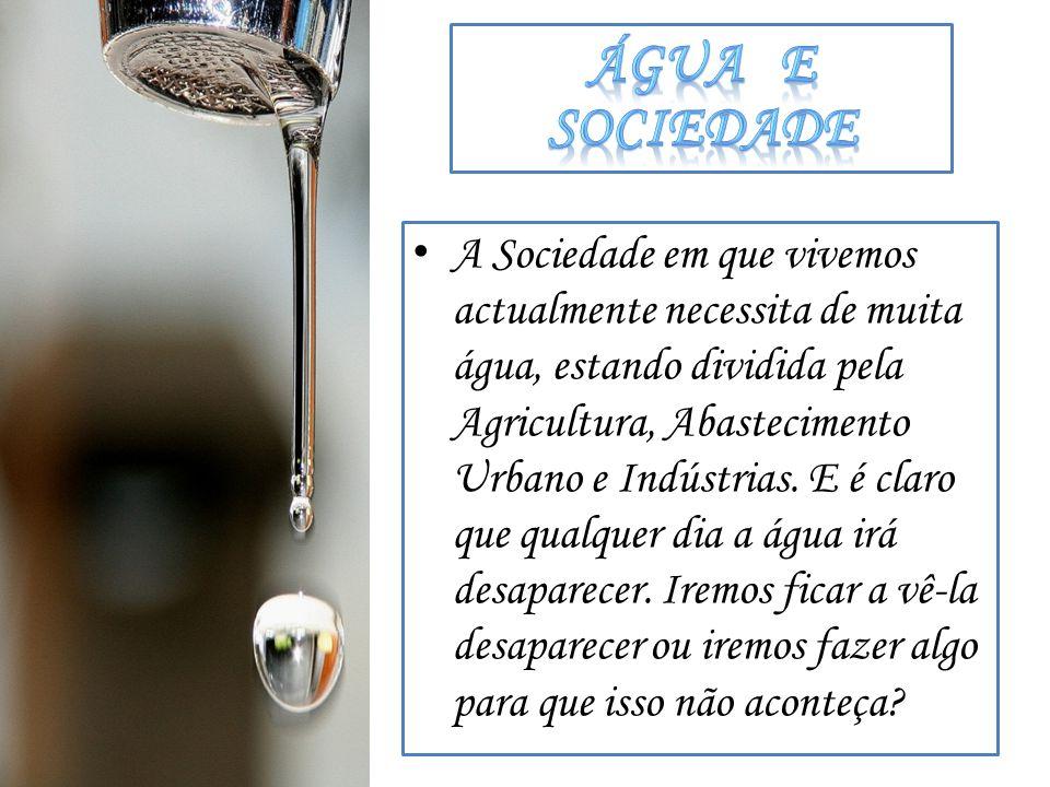 A Sociedade em que vivemos actualmente necessita de muita água, estando dividida pela Agricultura, Abastecimento Urbano e Indústrias. E é claro que qu