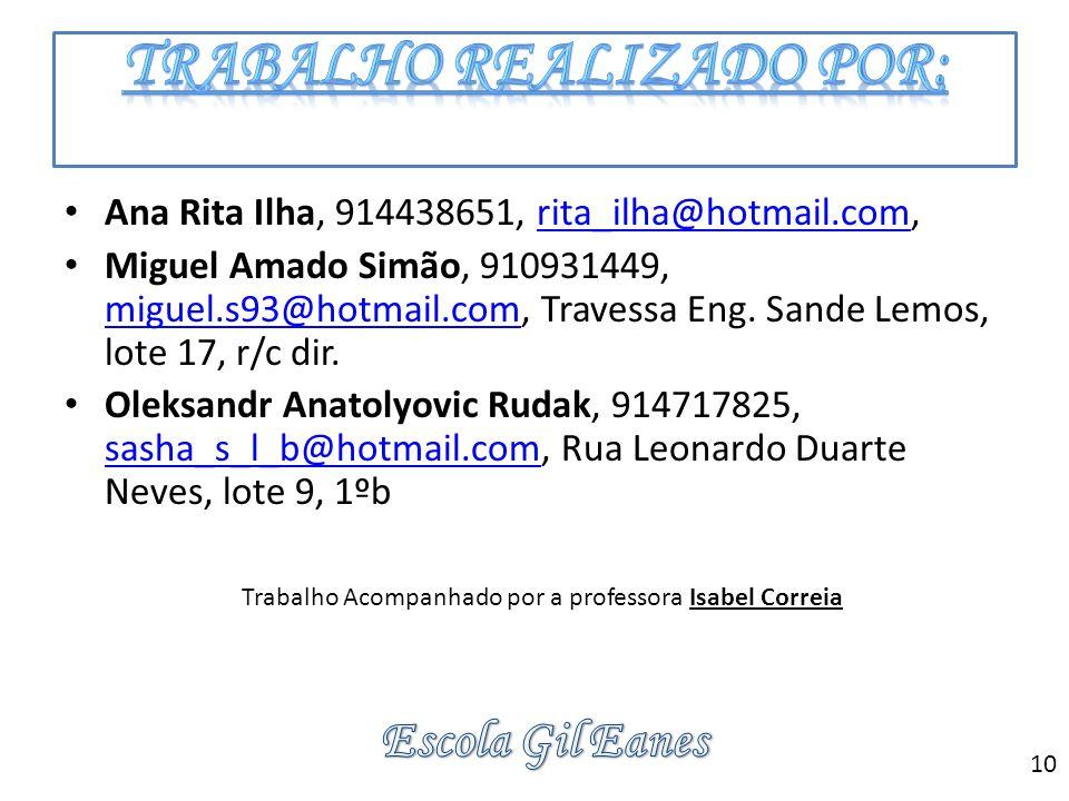 Ana Rita Ilha, 914438651, rita_ilha@hotmail.com,rita_ilha@hotmail.com Miguel Amado Simão, 910931449, miguel.s93@hotmail.com, Travessa Eng. Sande Lemos