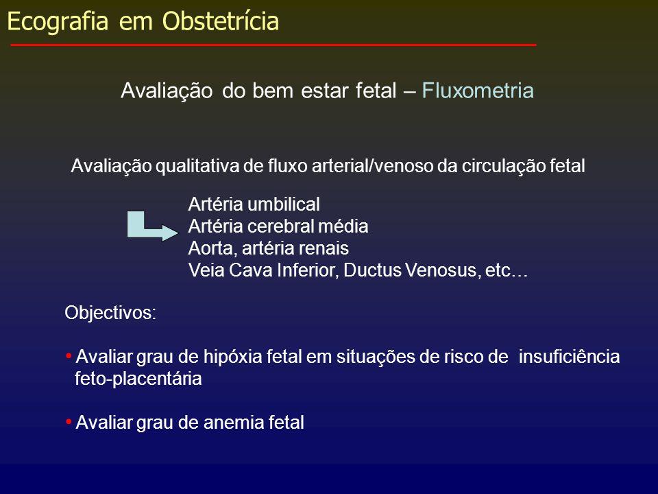Ecografia em Obstetrícia Avaliação do bem estar fetal – Fluxometria Avaliação qualitativa de fluxo arterial/venoso da circulação fetal Objectivos: Ava