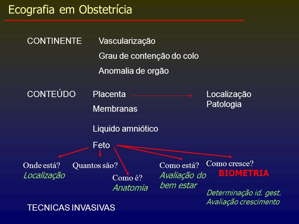 Ecografia em Obstetrícia CONTINENTEVascularização Grau de contenção do colo Anomalia de orgão CONTEÚDOLocalização Patologia Placenta Membranas Liquido