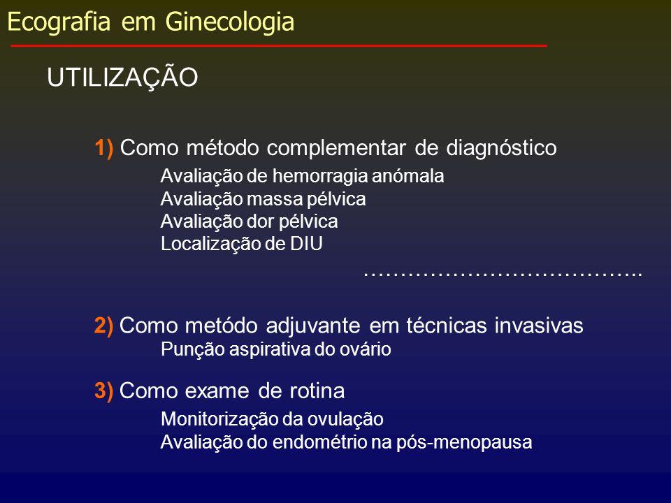 Ecografia em Ginecologia UTILIZAÇÃO 1) Como método complementar de diagnóstico Avaliação de hemorragia anómala Avaliação massa pélvica Avaliação dor p