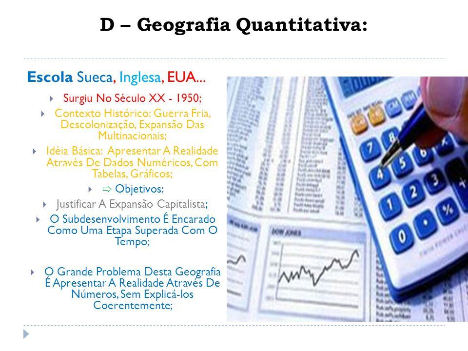 D – Geografia Quantitativa: Escola Sueca, Inglesa, EUA...