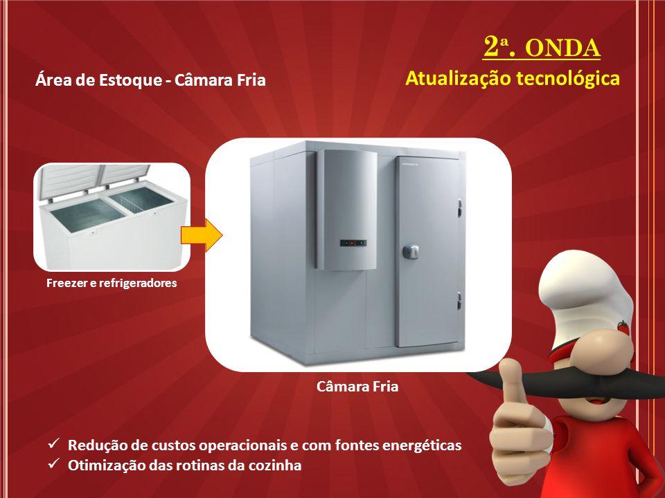 Área de Estoque - Câmara Fria 2 ª. ONDA Freezer e refrigeradores Câmara Fria Redução de custos operacionais e com fontes energéticas Otimização das ro
