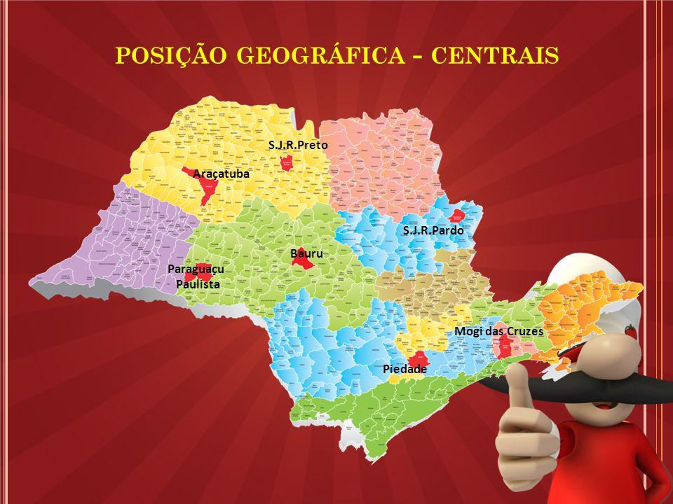 Bauru POSIÇÃO GEOGRÁFICA - CENTRAIS Araçatuba S.J.R.Preto S.J.R.Pardo Paraguaçu Paulista Piedade Mogi das Cruzes