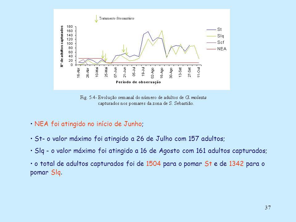 37 NEA foi atingido no início de Junho; St- o valor máximo foi atingido a 26 de Julho com 157 adultos; Slq - o valor máximo foi atingido a 16 de Agost