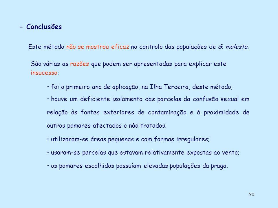 50 - Conclusões Este método não se mostrou eficaz no controlo das populações de G. molesta. foi o primeiro ano de aplicação, na Ilha Terceira, deste m