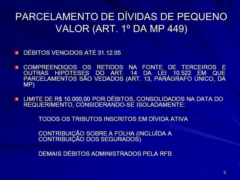 14 REMISSÃO DE DÉBITOS TRIBUTÁRIOS (ART.