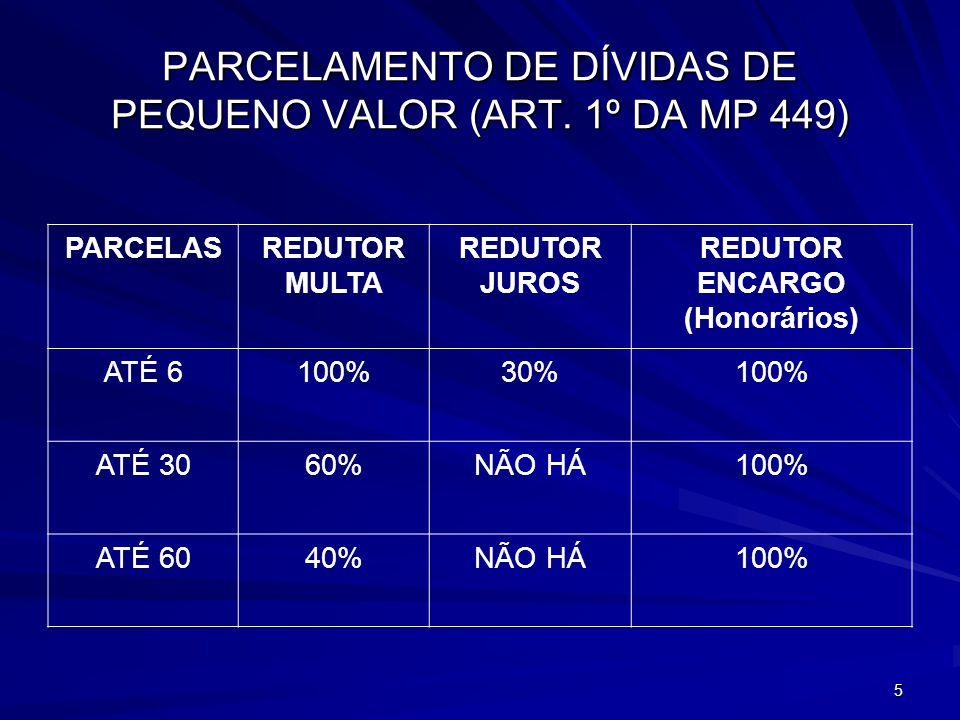6 PARCELAMENTO DE DÍVIDAS DE PEQUENO VALOR (ART.