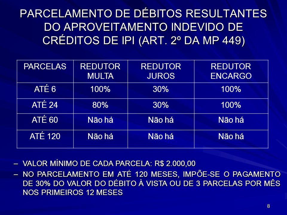 9 REPARCELAMENTO DE DÉBITOS INCLUÍDOS NO REFIS OU NO PAES (ART.