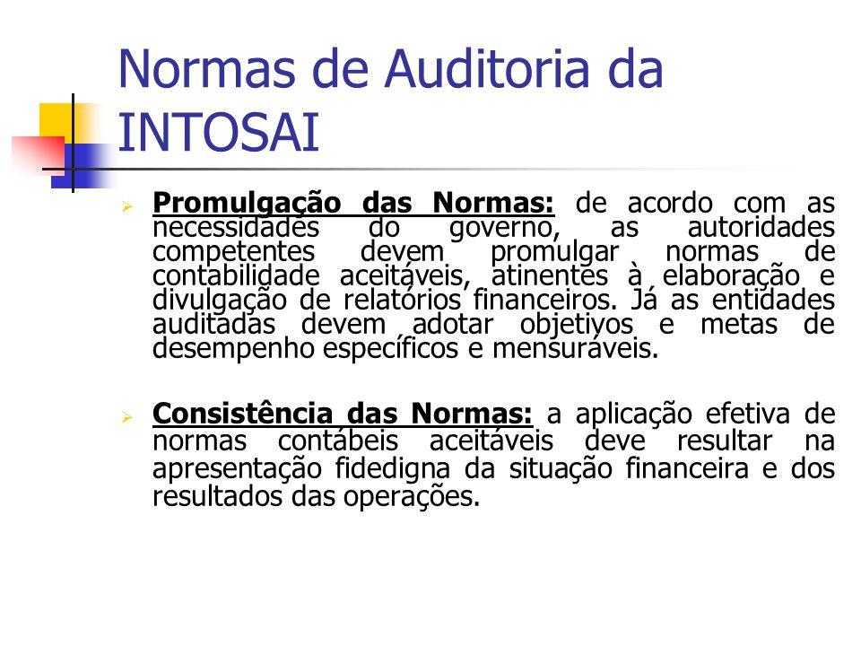Normas de Auditoria da INTOSAI Promulgação das Normas: de acordo com as necessidades do governo, as autoridades competentes devem promulgar normas de contabilidade aceitáveis, atinentes à elaboração e divulgação de relatórios financeiros.