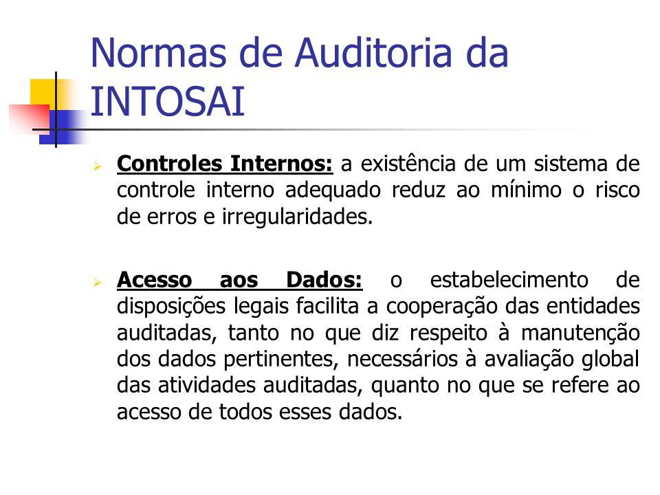 Normas de Auditoria da INTOSAI Controles Internos: a existência de um sistema de controle interno adequado reduz ao mínimo o risco de erros e irregula