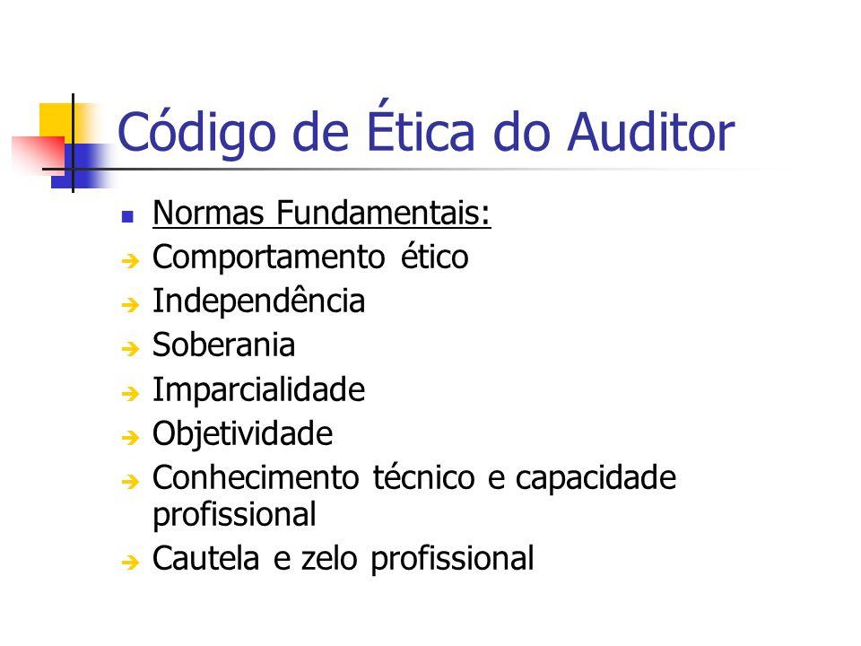 Código de Ética do Auditor Normas Fundamentais: Comportamento ético Independência Soberania Imparcialidade Objetividade Conhecimento técnico e capacidade profissional Cautela e zelo profissional