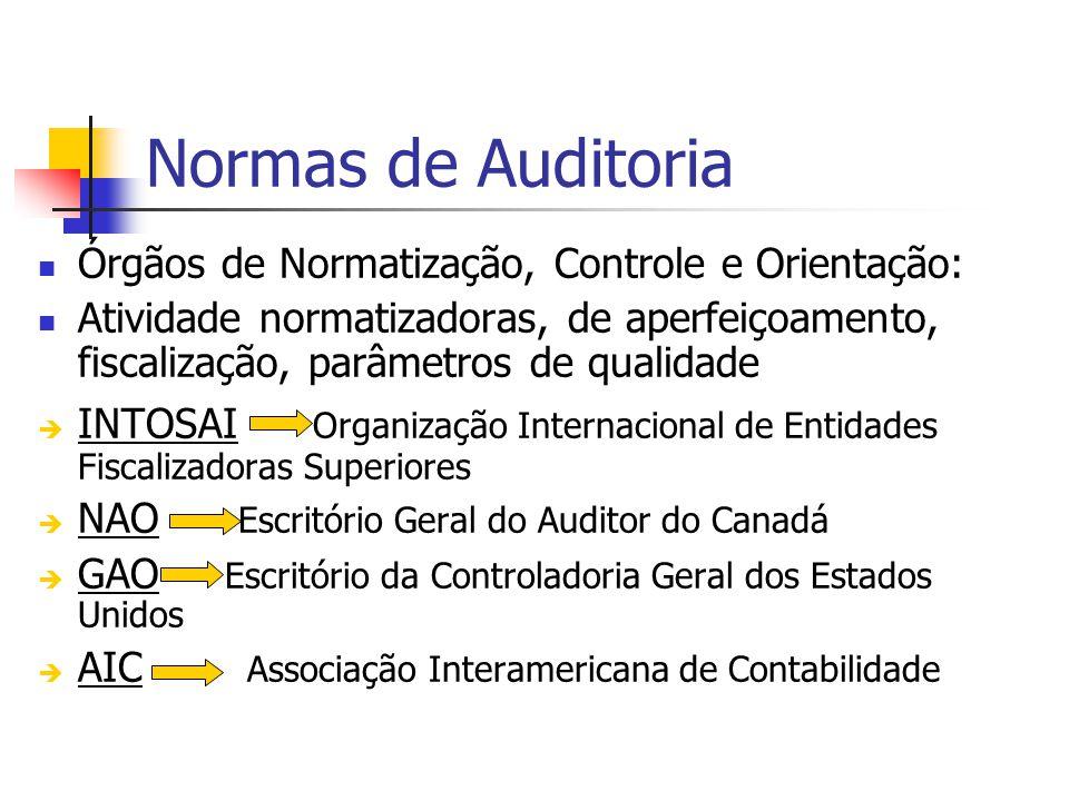 Normas de Auditoria Órgãos de Normatização, Controle e Orientação: Atividade normatizadoras, de aperfeiçoamento, fiscalização, parâmetros de qualidade INTOSAI Organização Internacional de Entidades Fiscalizadoras Superiores NAO Escritório Geral do Auditor do Canadá GAO Escritório da Controladoria Geral dos Estados Unidos AIC Associação Interamericana de Contabilidade