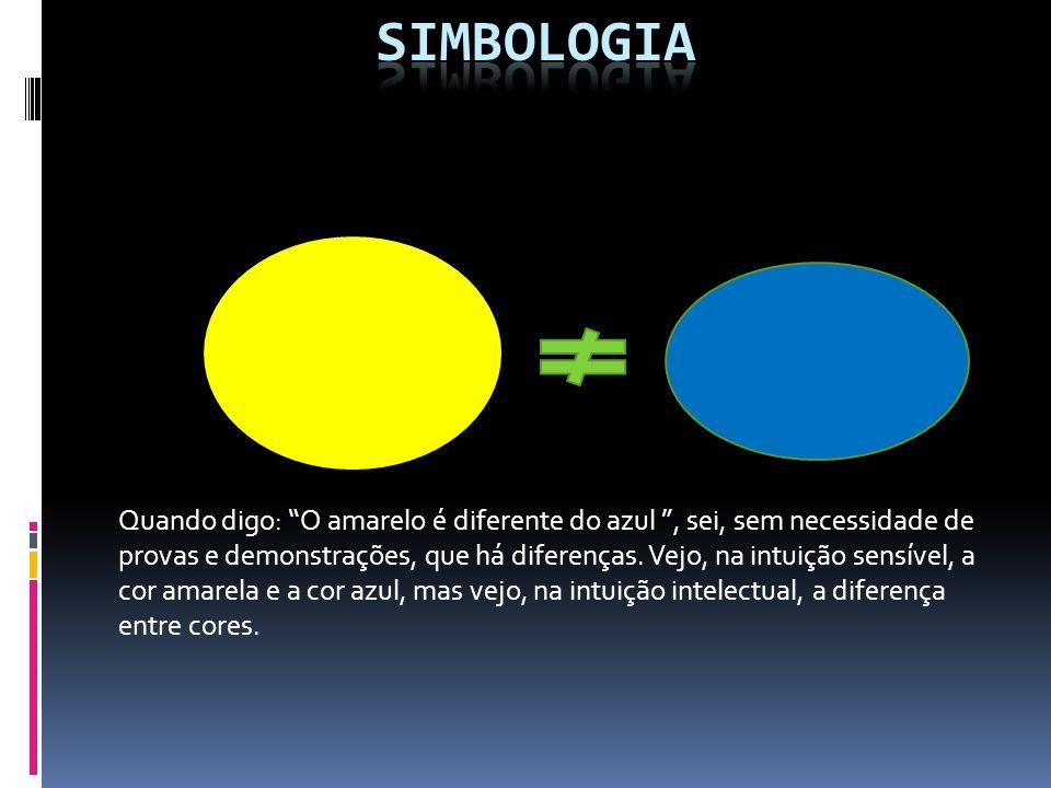 Quando digo: O amarelo é diferente do azul, sei, sem necessidade de provas e demonstrações, que há diferenças.