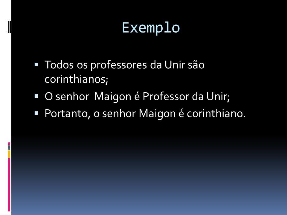 Exemplo Todos os professores da Unir são corinthianos; O senhor Maigon é Professor da Unir; Portanto, o senhor Maigon é corinthiano.