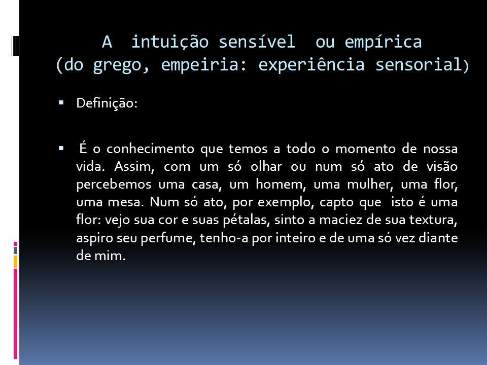 Outras Definições: A intuição empírica é o conhecimento direto e imediato das qualidades sensíveis do objeto externo; A intuição sensível ou empírica é psicológica, isto é, refere-se aos estados do sujeito do conhecimento enquanto um ser corporal e psíquico individual.