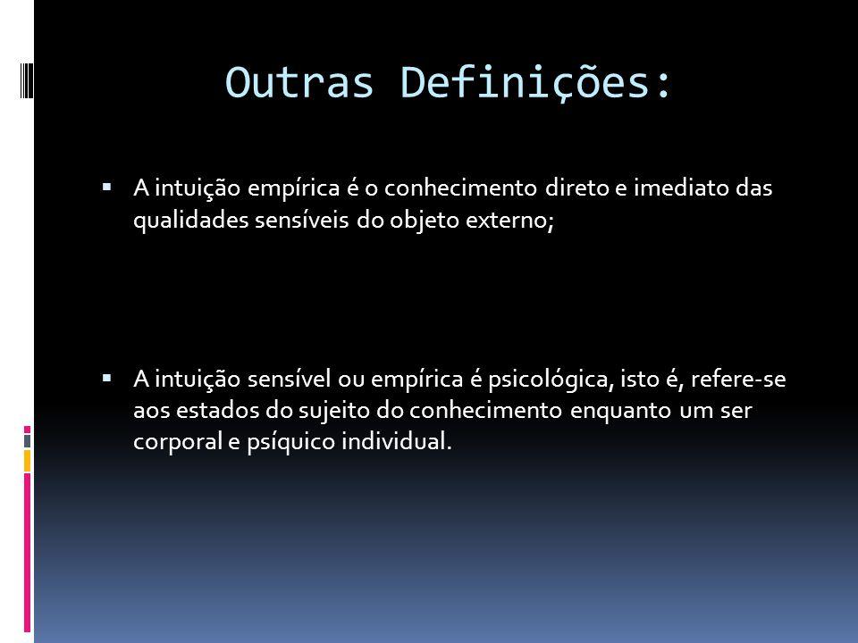 Outras Definições: A intuição empírica é o conhecimento direto e imediato das qualidades sensíveis do objeto externo; A intuição sensível ou empírica