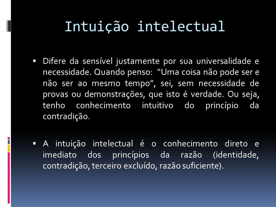 Intuição intelectual Difere da sensível justamente por sua universalidade e necessidade. Quando penso: Uma coisa não pode ser e não ser ao mesmo tempo