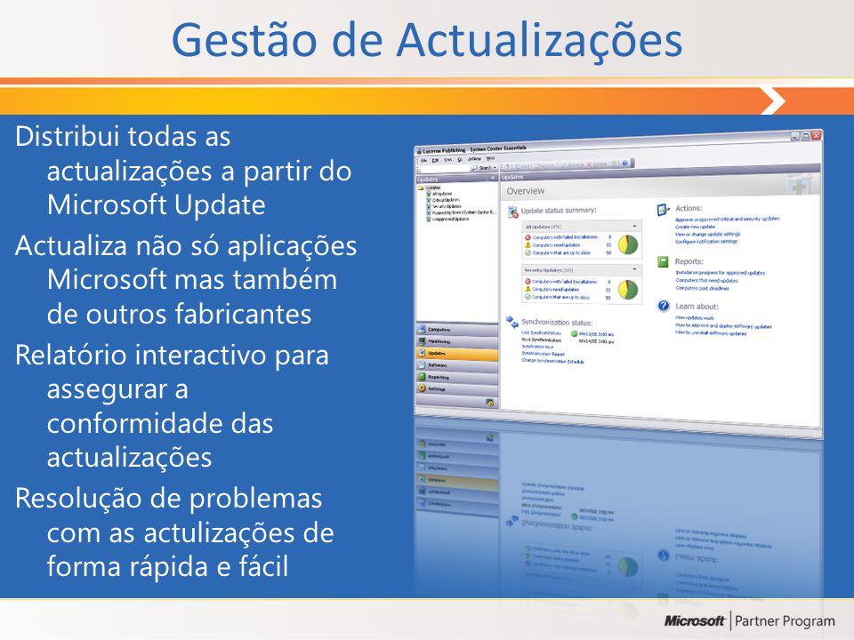 Gestão de Actualizações Distribui todas as actualizações a partir do Microsoft Update Actualiza não só aplicações Microsoft mas também de outros fabricantes Relatório interactivo para assegurar a conformidade das actualizações Resolução de problemas com as actulizações de forma rápida e fácil