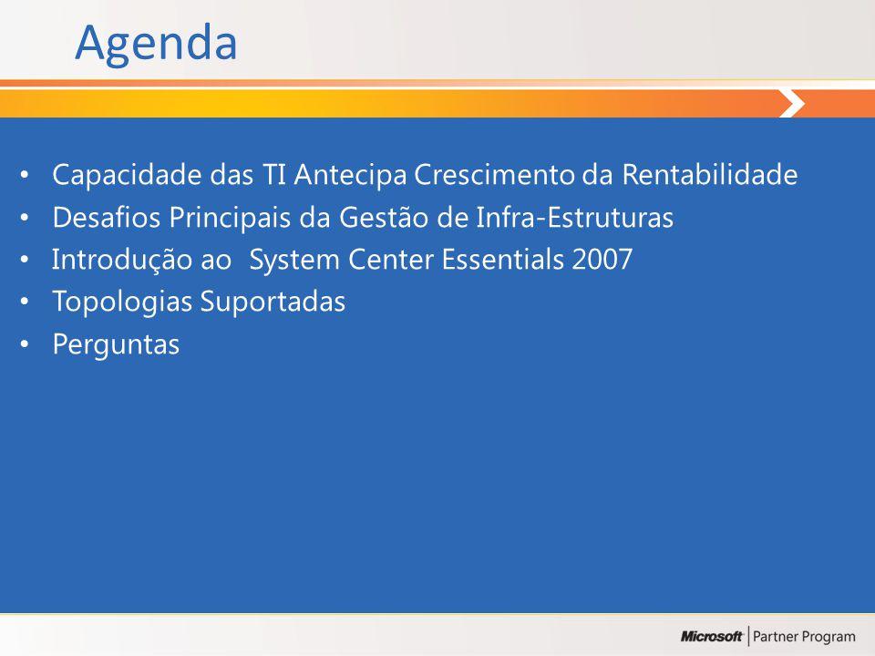 Agenda Capacidade das TI Antecipa Crescimento da Rentabilidade Desafios Principais da Gestão de Infra-Estruturas Introdução ao System Center Essentials 2007 Topologias Suportadas Perguntas