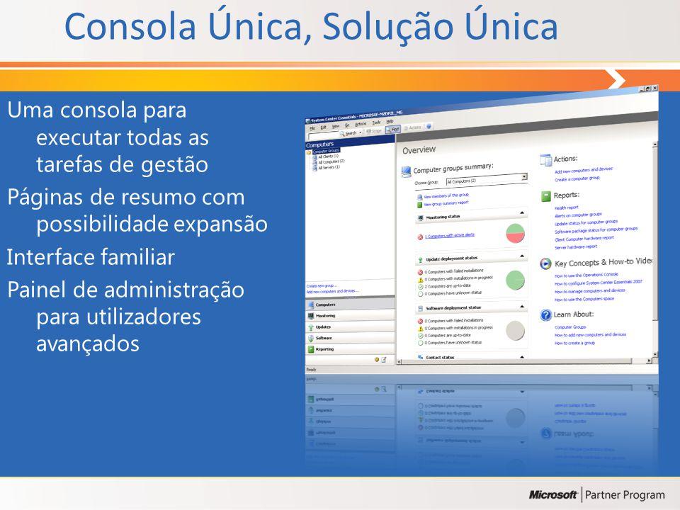 Consola Única, Solução Única Uma consola para executar todas as tarefas de gestão Páginas de resumo com possibilidade expansão Interface familiar Painel de administração para utilizadores avançados