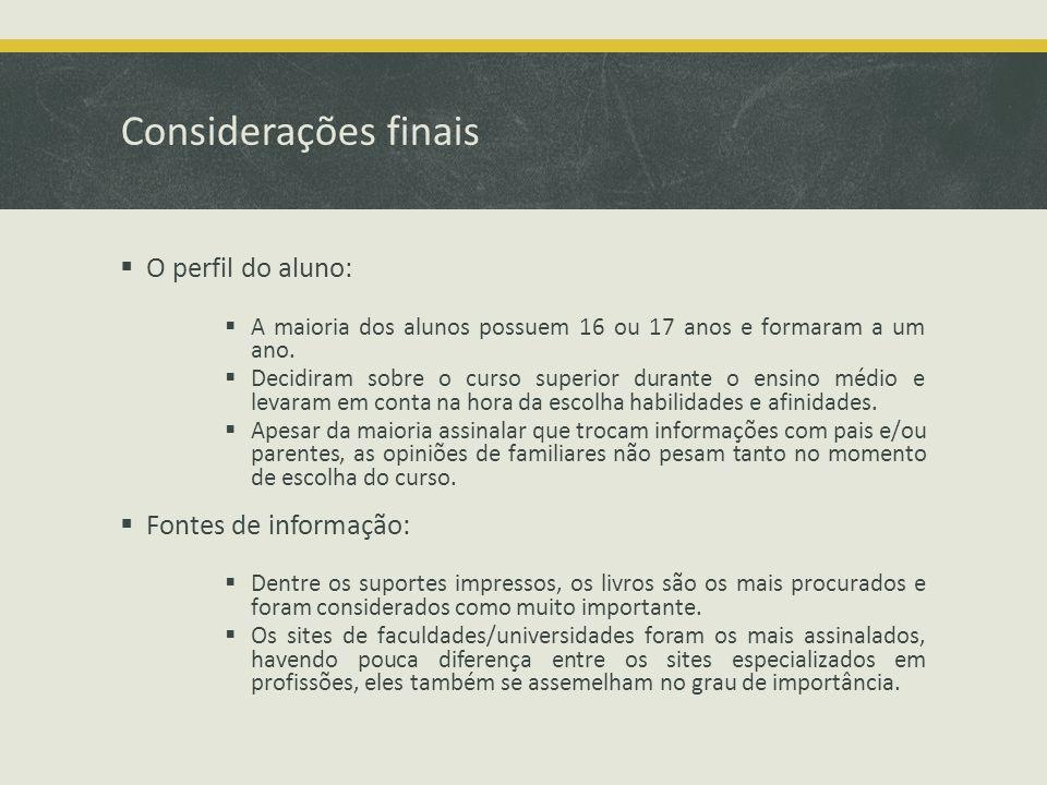 Considerações finais O perfil do aluno: A maioria dos alunos possuem 16 ou 17 anos e formaram a um ano.