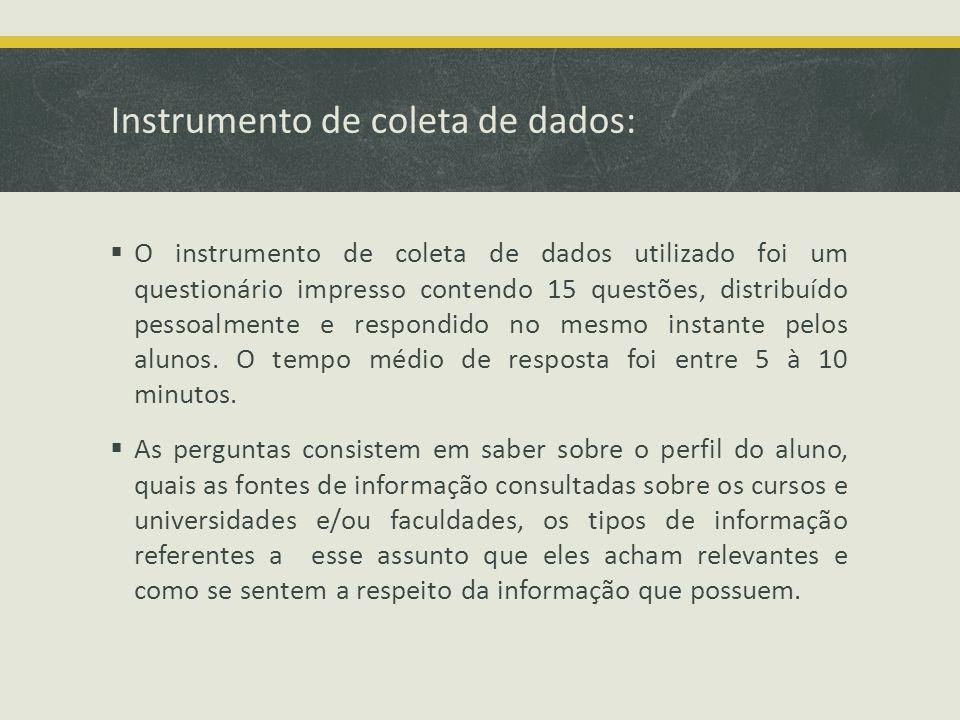 Instrumento de coleta de dados: O instrumento de coleta de dados utilizado foi um questionário impresso contendo 15 questões, distribuído pessoalmente e respondido no mesmo instante pelos alunos.