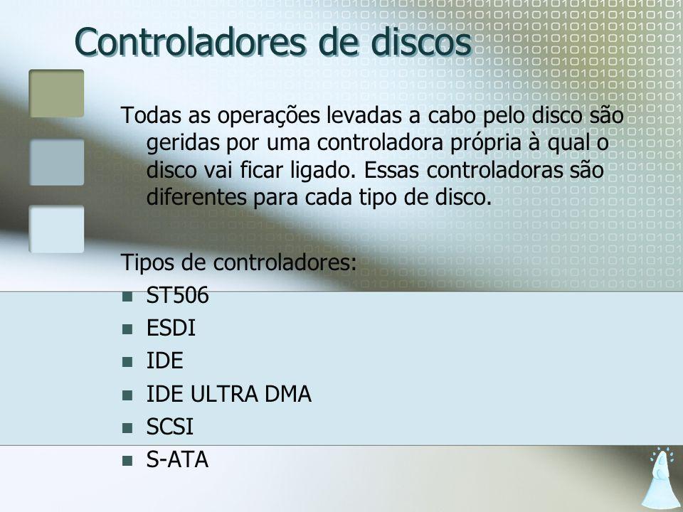 Controladores de discos Todas as operações levadas a cabo pelo disco são geridas por uma controladora própria à qual o disco vai ficar ligado. Essas c